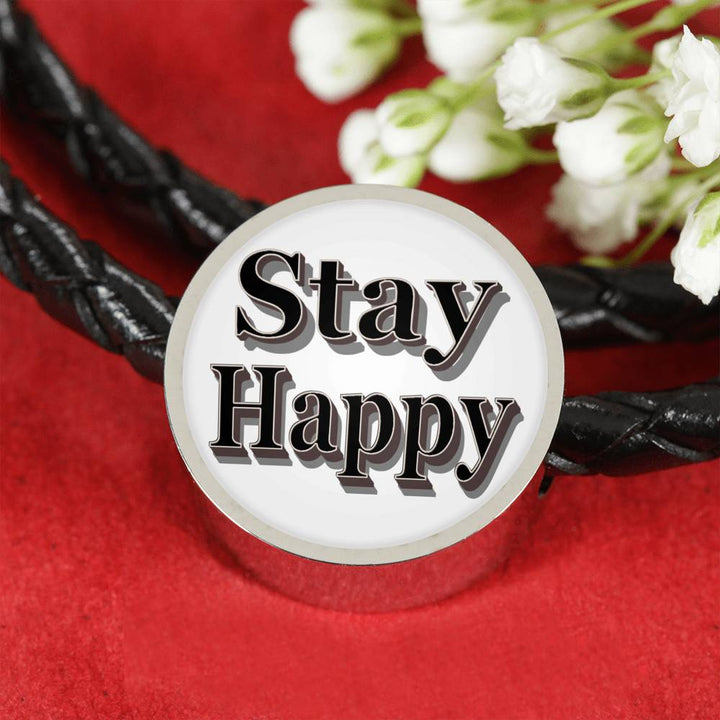 Stay Happy Leather Bracelet - Stay Happy Charm Bracelet - Digital art by Paul