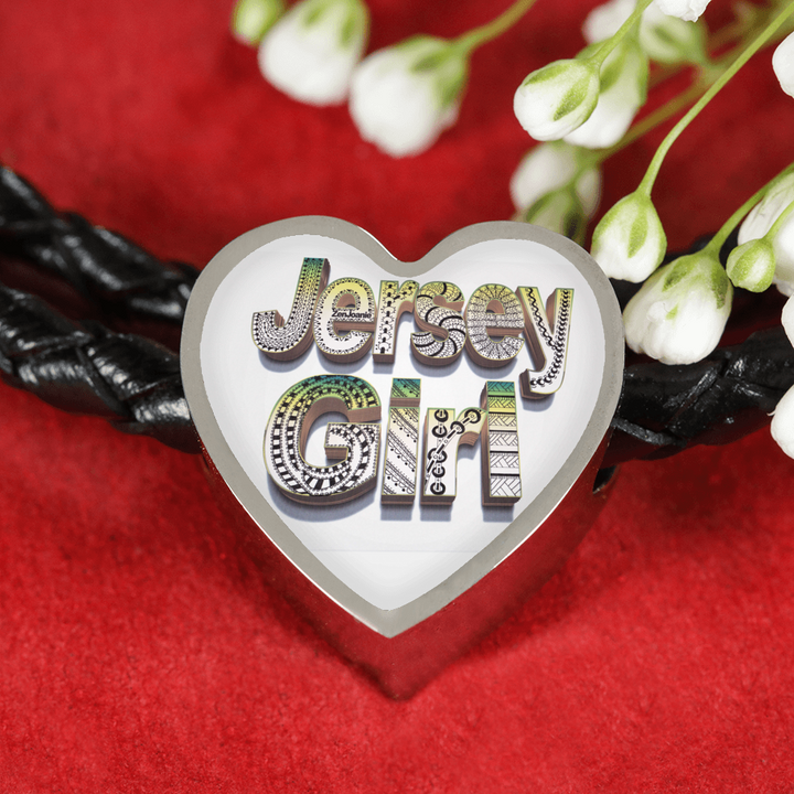 Jersey Girl Leather Charm Bracelet - Heart Shaped Pendant - hand drawn by ZenJoanie