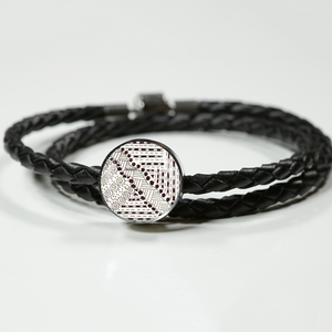 """Tracks"" hand drawn by ZenJoanie - Black and White Zentangle Charm Bracelet"