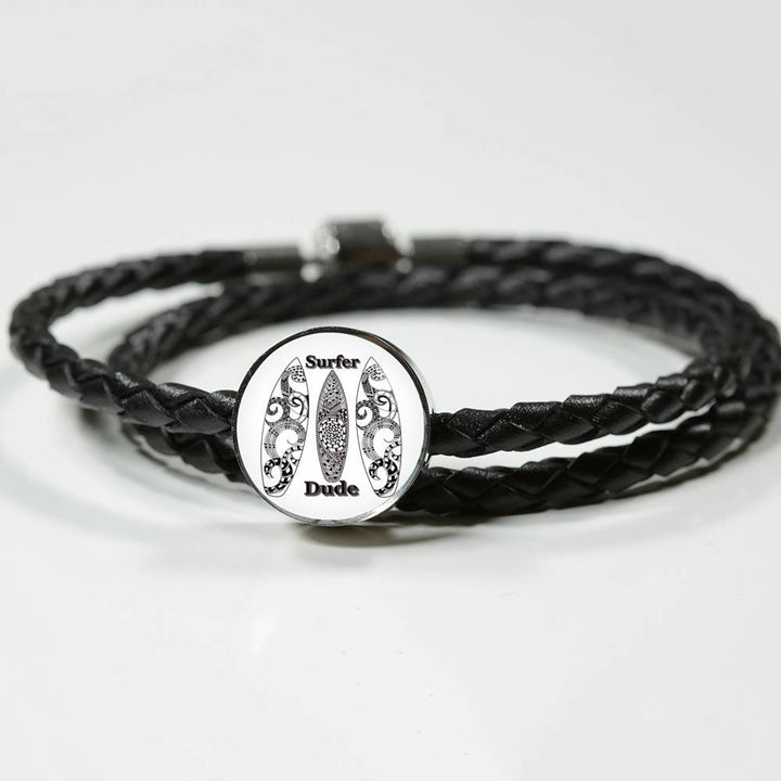 Surfer Dude Bracelet - hand drawn by ZenJoanie - Lether bracelet for the Surfer Dude - Black and White
