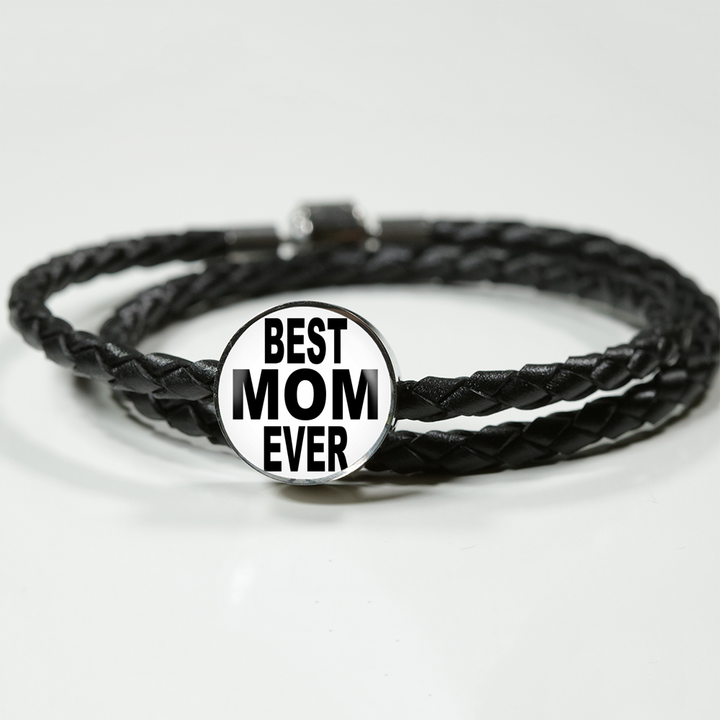 Best Mom Ever Bracelet - Leather Charm Bracelet for Mothers Day - Great Gift for Mom- made by Paul