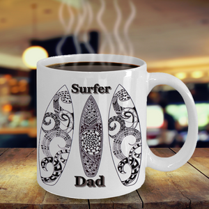 Surfer Dad Coffee Mug - Zentangle Art hand drawn by ZenJoanie