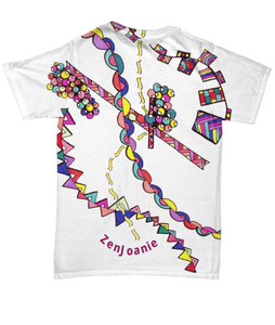 "Colored Zentangle T Shirt hand drawn by Zenjoanie - called ""DNA"""