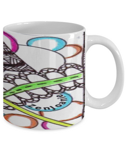 Colored Zentangle Mug - Hand Drawn by ZenJoanie - Wrapped - Authentic Zentangle Stuff Make Great Gifts