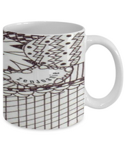 "Zentangle Mug - Tangle Art hand drawn by Zenjoanie - Black and White ""Circular"" - front and Back - Authentic Zentangle Stuff Make Great Gifts"