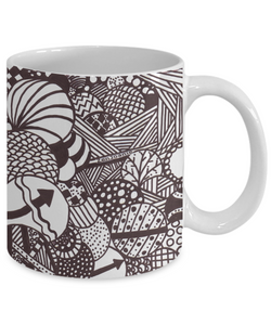 "B/W Zentangle Mug - Tangle Art hand drawn by Zenjoanie ""Illumination"" - Authentic Zentangle Stuff Make Great Gifts"