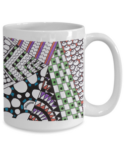 "Ceramic Zentangle Mug hand drawn by ZenJoanie - ""Angles"" - Authentic Zentangle Stuff Make Great Gifts"