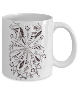 "B/W Zentangle Mug - Tangle Art hand drawn by Zenjoanie - ""Centered"" - Authentic Zentangle Stuff Make Great Gifts"
