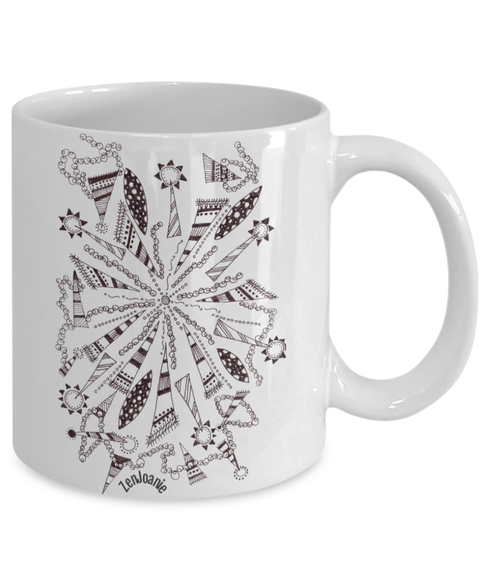 B/W Zentangle Mug - Tangle Art hand drawn by Zenjoanie -