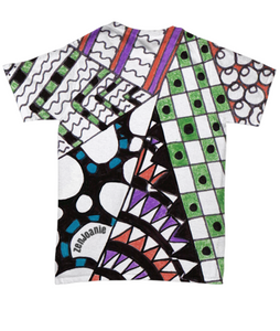 "Colored Tangle Art T Shirt hand drawn by ZenJoanie - ""Angles"""