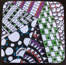 "Zentangle Coasters - Fun Drinking Coasters - Set of Artistic Coasters hand drawn by ZenJoanie - ""Angles"" for Home Decor"