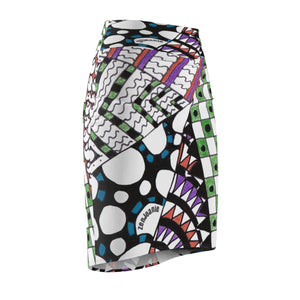"Zentangle Art Skirt - ""Angles"" hand drawn and colored by ZenJoanie - Women's Pencil Skirt - ZenJoanie Skirt"