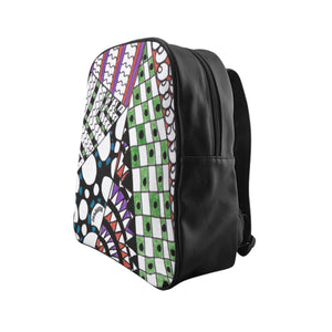 "Zentangle Art Backpack - ""Angles"" hand drawn by ZenJoanie - Back to School Special"