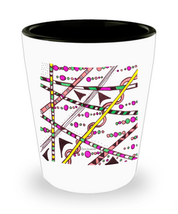 "Zentangle Shot Glass - Have a ""Shot of Art"" hand drawn by ZenJoanie - ""Which Way"""