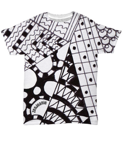 "B/W Tangle Art T Shirt hand drawn by ZenJoanie - ""Angles"""