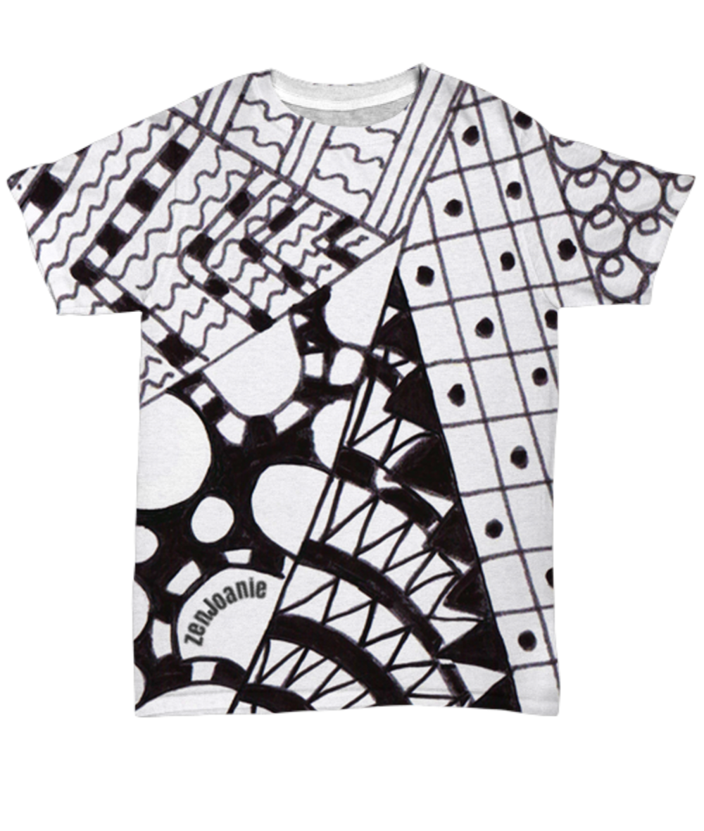 B/W Tangle Art T Shirt hand drawn by ZenJoanie -
