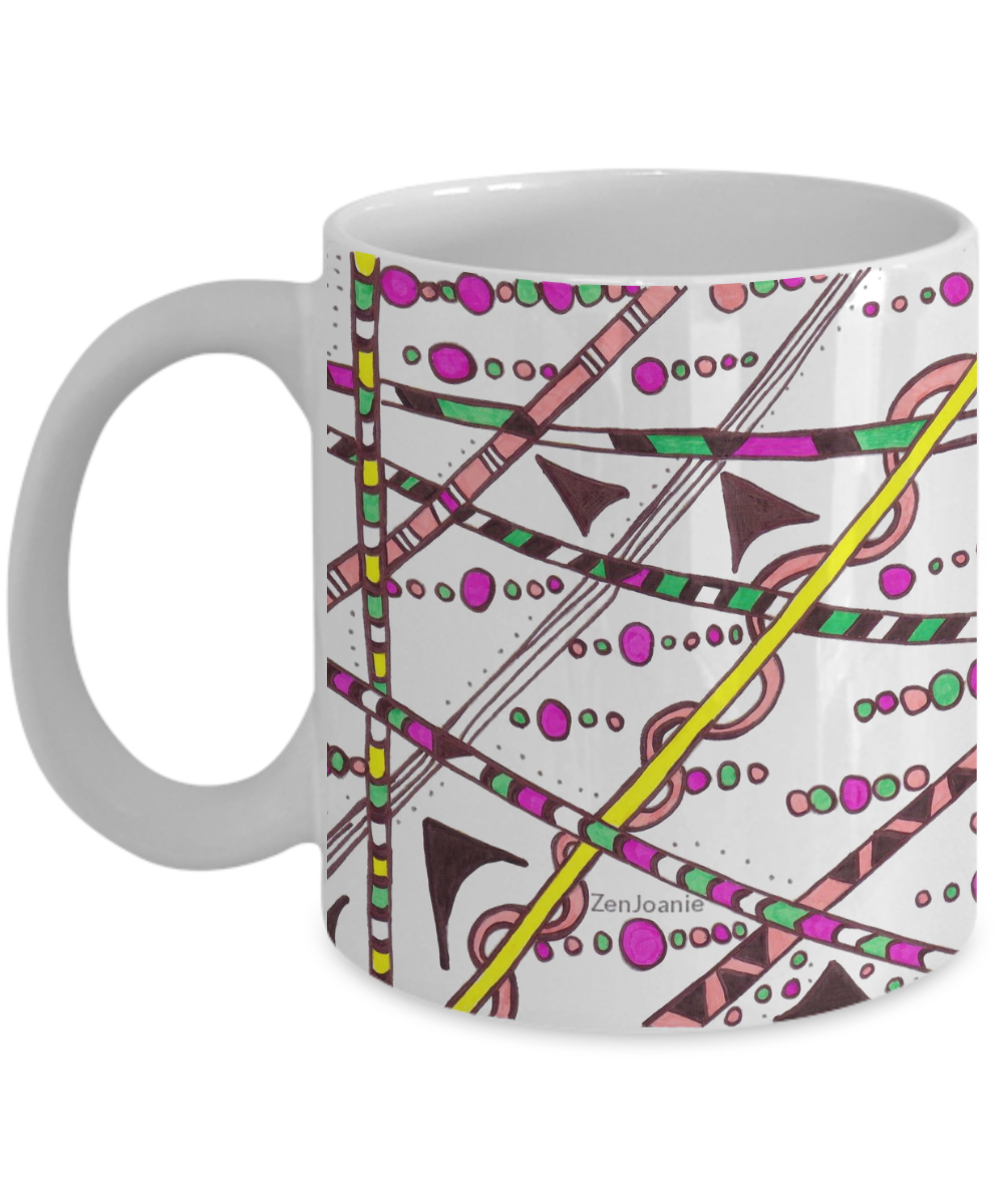 Colored Zentangle Mug - Tangle Art Hand Drawn by ZenJoanie -