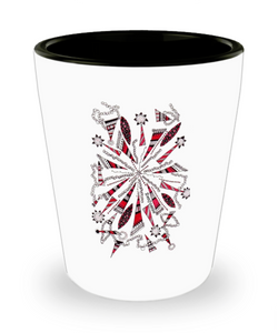 "Zentangle Shot Glass - Have a ""Shot of Art"" hand drawn by ZenJoanie - ""Centered"""
