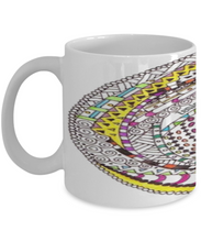 "Zentangle Mug Hand Drawn by ZenJoanie - ""RoundAbout"" Colored wrapped around - Authentic Zentangle Stuff Make Great Gifts"
