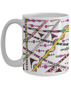 "Colored Zentangle Mug - Tangle Art Hand Drawn by ZenJoanie - ""Which Way"" both sides - Authentic Zentangle Stuff Make Great Gifts"