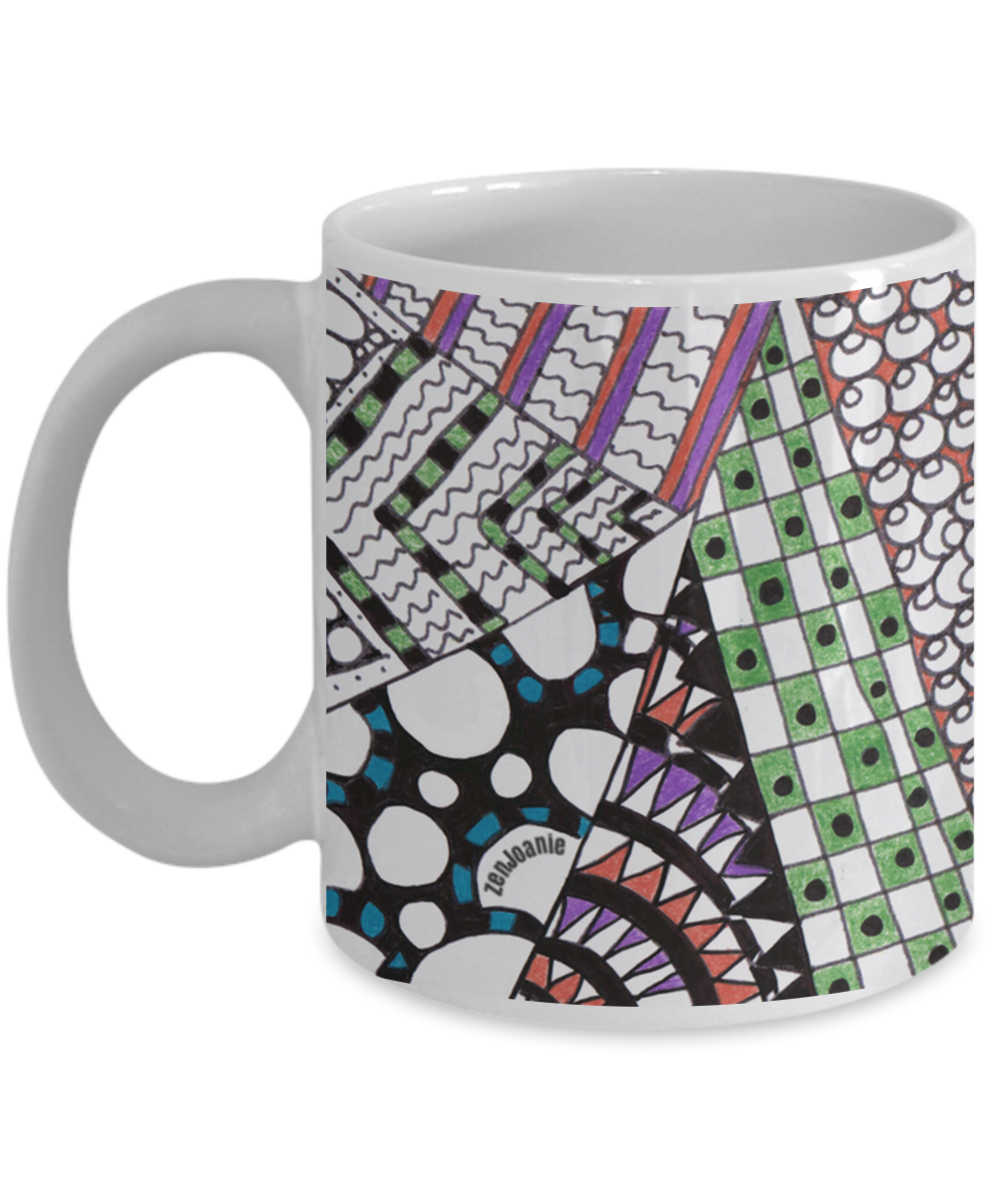 Ceramic Zentangle Mug hand drawn by ZenJoanie -