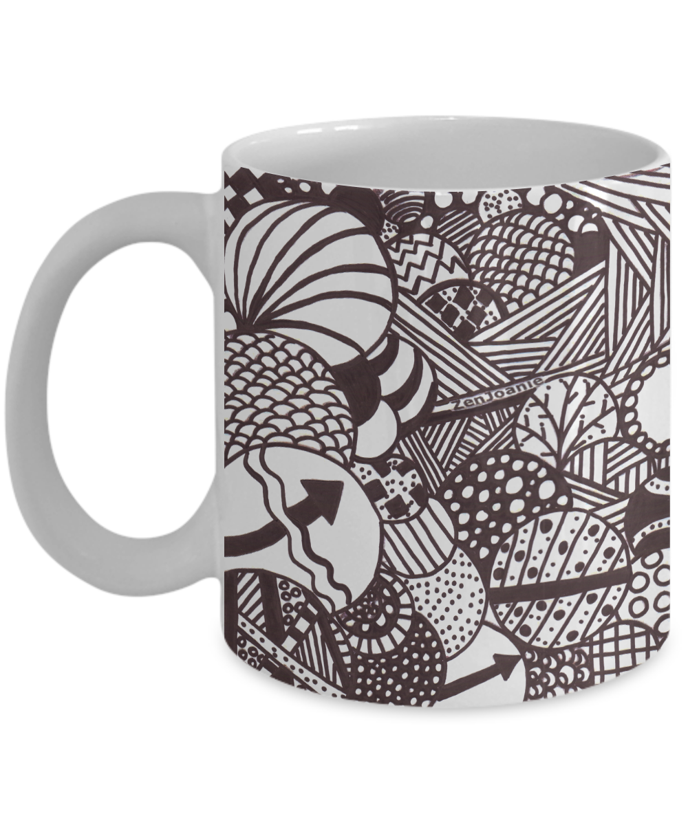 B/W Zentangle Mug - Tangle Art hand drawn by Zenjoanie