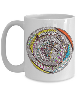 "Zentangle Mug Hand Drawn by ZenJoanie - ""RoundAbout"" Colored front and back - Authentic Zentangle Stuff Make Great Gifts"