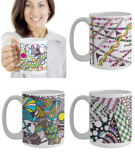 Zentangle Mugs - Set of 4 Colored Tangle Art hand drawn by ZenJoanie - Authentic Zentangle Stuff Make Great Gifts