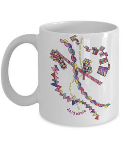 Colored Zentangle Mug Hand Drawn by ZenJoanie - Design # 6 - Authentic Zentangle Stuff Make Great Gifts