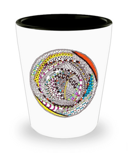 "Zentangle Shot Glass - Have a ""Shot of Art"" hand drawn by ZenJoanie - ""RoundAbout"""