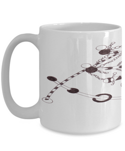 "Zentangle Mug - Tangle Art hand drawn by Zenjoanie - Black and White ""String Theory"" - Authentic Zentangle Stuff Make Great Gifts"