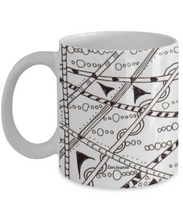 "B/W Zentangle Mug hand drawn by Zenjoanie - ""Which Way"" - front and Back - Authentic Zentangle Stuff Make Great Gifts"
