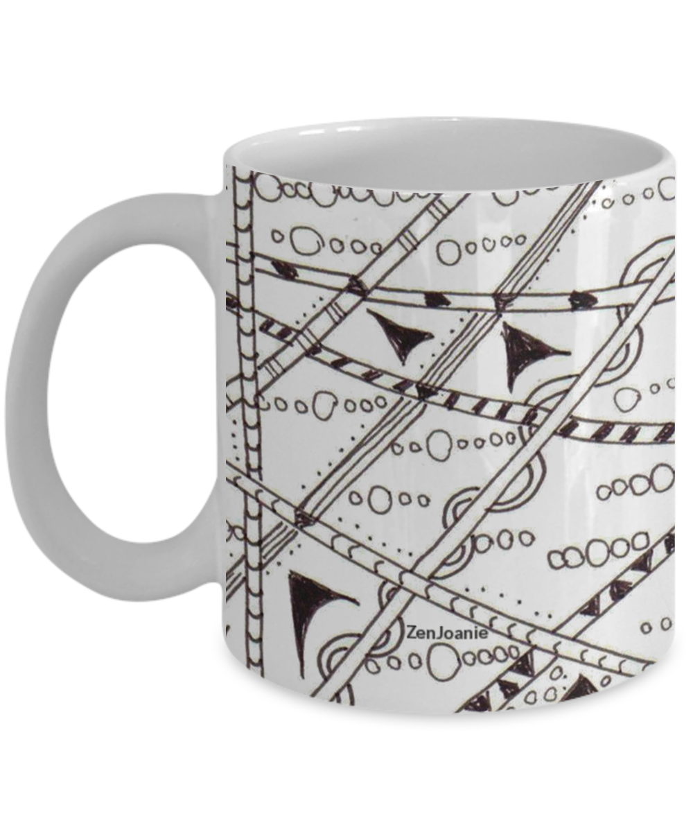 B/W Zentangle Mug hand drawn by Zenjoanie -