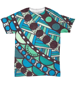 "Colored Tangle Art T Shirt hand drawn by ZenJoanie ""Connect the Dots"" Dark"