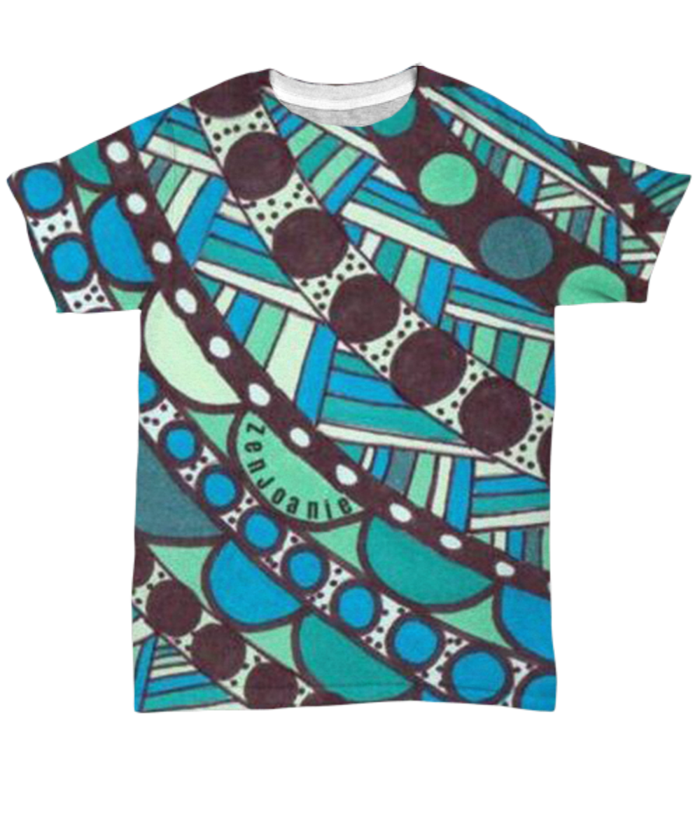 Colored Tangle Art T Shirt hand drawn by ZenJoanie