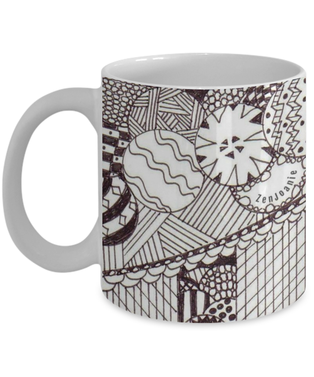 Zentangle Mug - Tangle Art hand drawn by Zenjoanie - Black and White