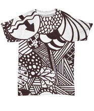 "B/W Tangle Art T Shirt hand drawn by Zenjoanie ""Illumination"""