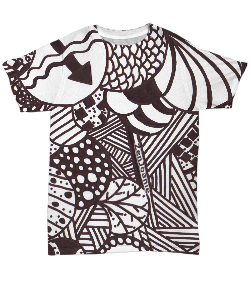 B/W Tangle Art T Shirt hand drawn by Zenjoanie
