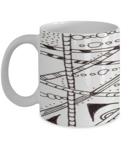 "B/W Zentangle Mug - Tangle Art hand drawn by Zenjoanie - ""Which Way"" - wrapped - Authentic Zentangle Stuff Make Great Gifts"
