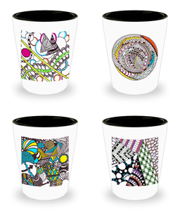 Zentangle Shot Glass - Set of 4 Ceramic Shot Glasses - Tangle Art hand drawn by ZenJoanie