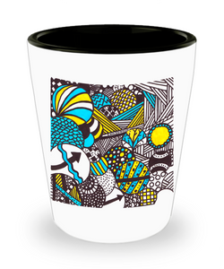 "Zentangle Shot Glass - Have a ""Shot of Art"" hand drawn by ZenJoanie - ""Illumination"" - Authentic Zentangle Stuff makes Great Gifts"