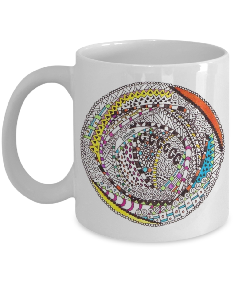 Zentangle Mug Hand Drawn by ZenJoanie -