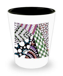 "Zentangle Shot Glass - Ceramic Shot Glass hand drawn tangle art by ZenJoanie - ""Angles"""