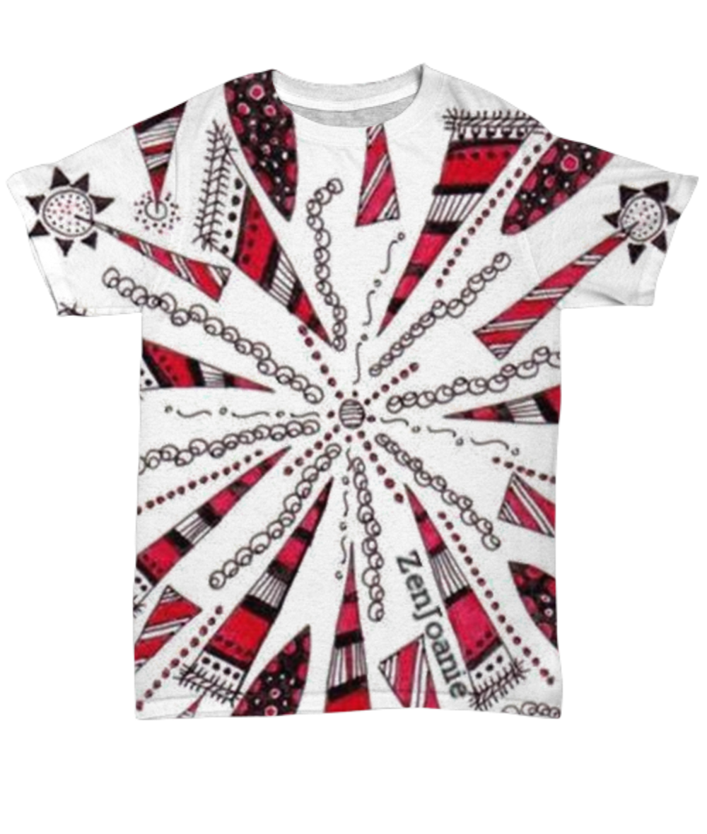Colored Zentangle T Shirt hand drawn by ZenJoanie -