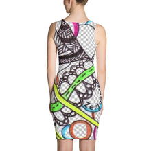 "Zentangle Dress - ""PathWays"" hand drawn and colored by ZenJoanie - Sublimation Cut & Sew Dress - ZenJoanie Dress"