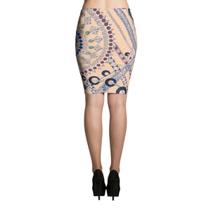 "Zentangle Art Skirt - ""Pillow Talk"" hand drawn and colored by ZenJoanie - Women's Pencil Skirt - ZenJoanie Skirt"