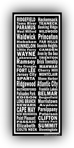 New Jersey Towns Canvas Art Print - Canvas Wall Art that Makes a Statement