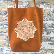 Load image into Gallery viewer, Suede Flower Tote - Tan