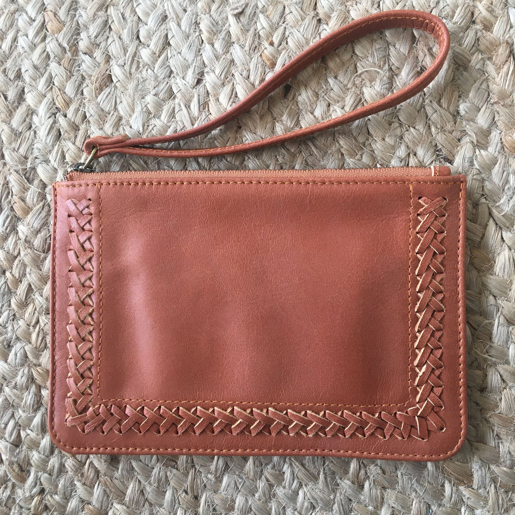 Stitched Mini Clutch - Tobacco