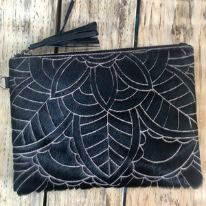 Carved Hide Clutch - Black
